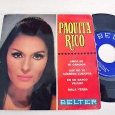 Discos de vinilo: PAQUITA RICO-EP AMOR ES MI CANCION +3. Lote 243005220