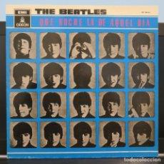 Discos de vinilo: THE BEATLES QUE NOCHE LA DE AQUEL DIA LP VINILO ESPAÑOL. Lote 243013720