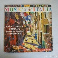 Discos de vinilo: DOMENICO VALENTE Y SU ORQUESTA – MUSICA DE ITALIA - FUNICULI, FUNICULA + 3 RARO EP BELTER AÑO 1959. Lote 243034935