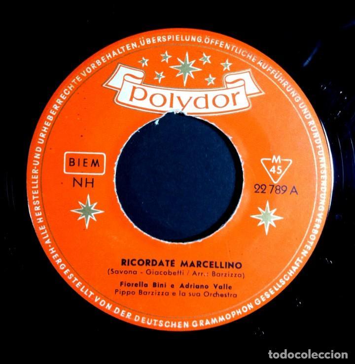 FIORELLA BINI - RICORDATE MARCELLINO / GUAGLIONE - SINGLE ALEMAN 1956 . POLYDOR (Música - Discos - Singles Vinilo - Pop - Rock Internacional de los 50 y 60)