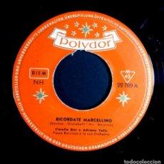 Discos de vinilo: FIORELLA BINI - RICORDATE MARCELLINO / GUAGLIONE - SINGLE ALEMAN 1956 . POLYDOR. Lote 243059990