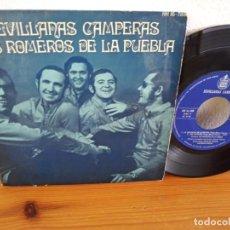 Discos de vinilo: EP LOS ROMEROS DE LA PUEBLA - SEVILLANAS CAMPERAS - ESTAMPAS DE LA DEHESA + 3 - HISPAVOX (1971). Lote 243197265