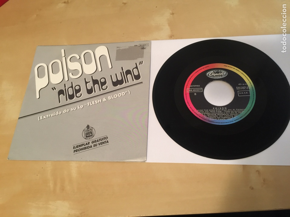 """Discos de vinilo: Poison - Ride The Wind - SINGLE PROMO RADIO 7"""" - 1991 - Foto 3 - 243252040"""