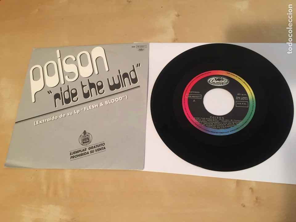 "POISON - RIDE THE WIND - SINGLE PROMO RADIO 7"" - 1991 (Música - Discos - Singles Vinilo - Heavy - Metal)"