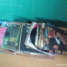 Discos de vinilo: SINGLES AL PESO, PACKS DE 100 SINGLES CARATULAS FATIGADAS CON CELO O DISCOS SIN CARATULA. Lote 243266155