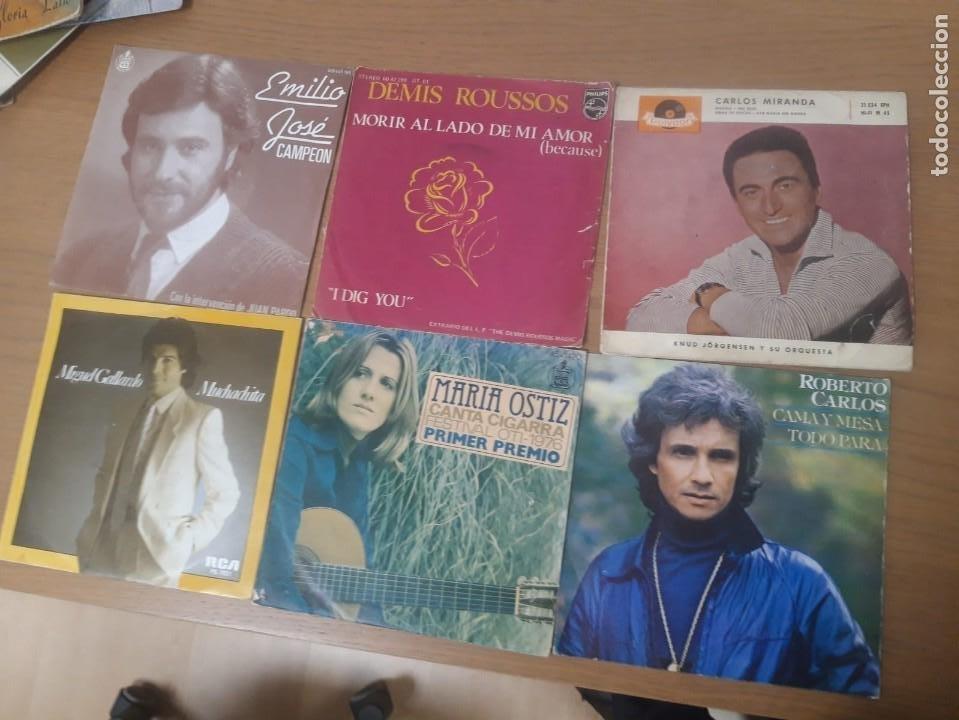 LOTE VINILOS EMILIO JOSE, DEMIS ROUSSOS, CARLOS MIRANDA, MIGUEL GALLARDO, MARIA OSTIZ,ROBERTO CARLOS (Música - Discos - Singles Vinilo - Cantautores Españoles)