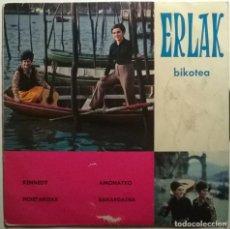 Discos de vinilo: ERLAK: BIKOTEA. KENNEDY/ AMONATXO/ HOIETAKOAK/ BAKARDADEA. CINSA, SPAIN 1969 EP. Lote 243307665