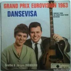 Discos de vinilo: GRETHE & JORGEN INGMANN. DANSEVISA/ BATUCADA/ FOREVIGHT/ FOURTH MAN. GRAND PRIX EUROVISION 1963, FR. Lote 243308885
