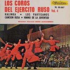 Discos de vinilo: LOS COROS DEL EJERCITO RUSO VOL.4//KALINKA+3//EP//1966//VISADISC. Lote 243336805