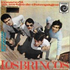 Discos de vinilo: BRINCOS, LOS: RENACERÁ / UN SORBITO DE CHAMPAGNE / GIULIETTA / TÚ EN MÍ. Lote 243394030