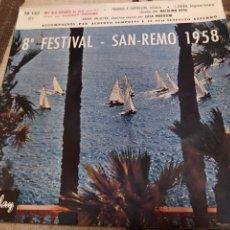 Discos de vinilo: DOMENICO MODUGNO/NATALINO OTTO/LICIA MOROSINI–8º FESTIVAL - SAN REMO 1958. EP. Lote 243471375