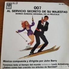 Discos de vinilo: JOHN BARRY - 007 AL SERVICIO SECRETO DE SU MAJESTAD ********* RARO EP ESPAÑOL JAMES BOND 1969. Lote 243493300