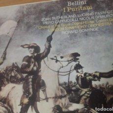 Discos de vinilo: VINILO OPERA BELLINI, I PURITANI, DECCA, 1975, CAJA CON 3 LPS Y LIBRETO. Lote 243510135
