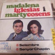 Discos de vinilo: MADALENA IGLÉSIASIMARTY COSENS -CANTEN EN CATALÀ: SETEMBRE / SENYOR CHAPLIN . EP 1966.. Lote 243532625