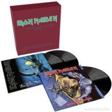 Discos de vinilo: IRON MAIDEN * BOX COMPLETE ALBUMS * CAJA CON 3 VINILOS PRECINTADOS. Lote 243589155