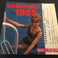 Discos de vinilo: EP TORREBRUNO CANTA EN ESPAÑO SAN REMO 1965 EDITADO POR BELTER. Lote 243601830