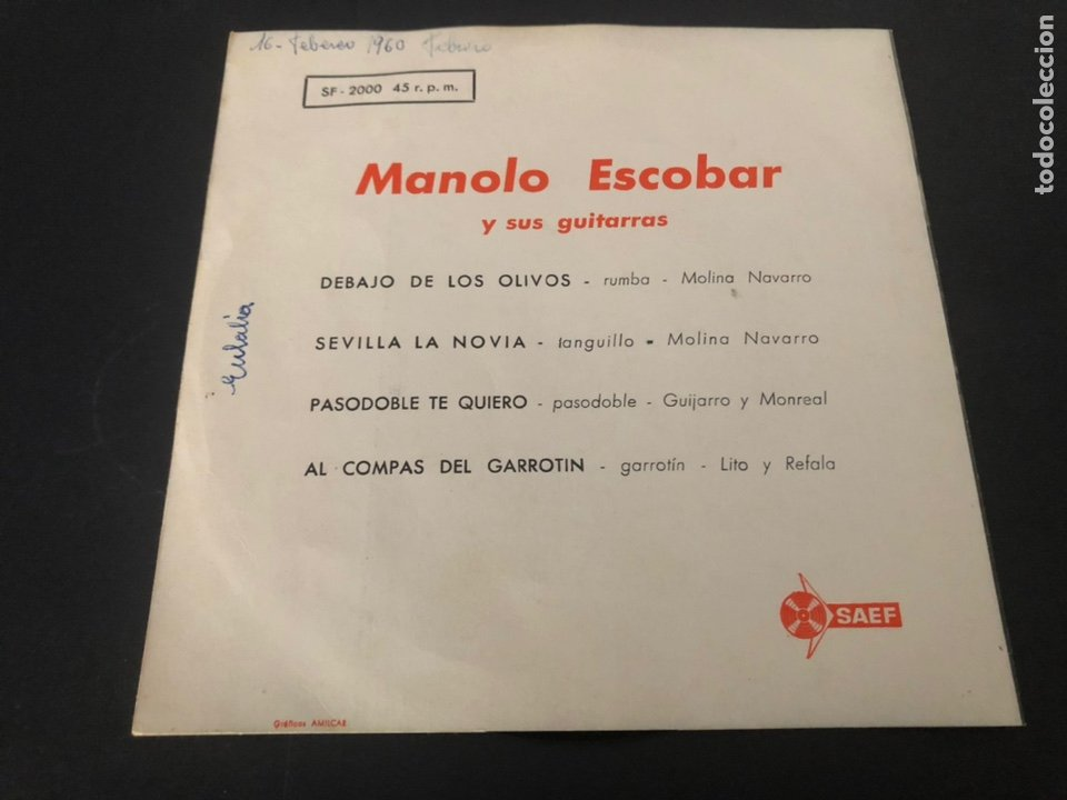 Discos de vinilo: EP MANOLO ESCOBAR Y SUS GUITARRAS /DEBAJO DE LOS OLIVOS/SEVILLA LA NOVIA/PASODOBLE TE QUIERO/AL GARR - Foto 2 - 243602295