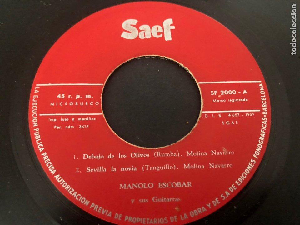 Discos de vinilo: EP MANOLO ESCOBAR Y SUS GUITARRAS /DEBAJO DE LOS OLIVOS/SEVILLA LA NOVIA/PASODOBLE TE QUIERO/AL GARR - Foto 3 - 243602295