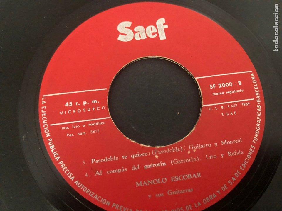 Discos de vinilo: EP MANOLO ESCOBAR Y SUS GUITARRAS /DEBAJO DE LOS OLIVOS/SEVILLA LA NOVIA/PASODOBLE TE QUIERO/AL GARR - Foto 4 - 243602295