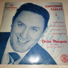 Discos de vinilo: CARLOS MUNGUIA - CANCIONES VASCAS - DEDICATORIA Y AUTÓGRAFO. Lote 243606845