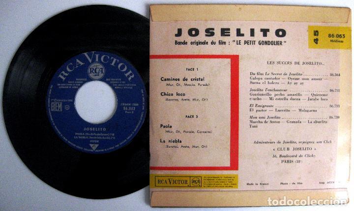 Discos de vinilo: Joselito - Le Petit Gondolier (Loca Juventud) - Chico Loco +3 - EP RCA Victor 1964 Francia BPY - Foto 2 - 243622480
