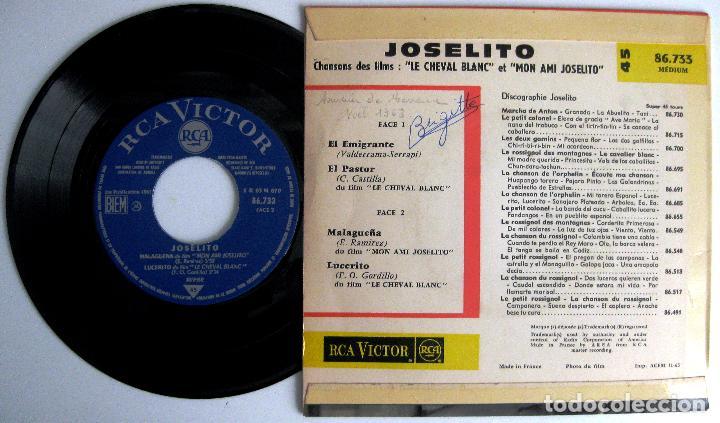 Discos de vinilo: Joselito - Le Cheval Blanc (El Caballo Blanco) - El Emigrante +3 - EP RCA Victor 1963 Francia BPY - Foto 2 - 243623865