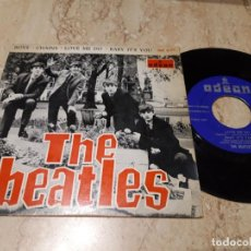 Discos de vinilo: THE BEATLES BOYS/CHAINS/LOVE ME DO/BABY IT'S YOU EP 1964- ODEON DSOE 16574 ESPAÑA LABEL AZUL OSCURO. Lote 243632480