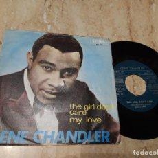 Discos de vinilo: GENE CHANDLER – THE GIRL DON'T CARE / MY LOVE / EDICION ESPAÑOLA-1967-CORAL – ME 312-FUNK SOUL-. Lote 243637450