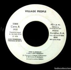 Discos de vinilo: VILLAGE PEOPLE - JUST A GIGOLO / MANHATTAN TRANSFER JEALOUS - SINGLE PROMO 1979 - ARIOLA. Lote 243646505