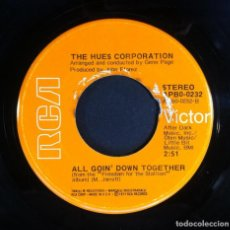Discos de vinilo: THE HUES CORPORATION - ROCK THE BOAT / ALL GOIN DOWN TOGETHER - SINGLE USA 1973 - RCA. Lote 243647135