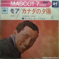 Discos de vinilo: ANDY WILLIAMS. CANADIAN SUNSET/ MORE. CBS, JAPON 1965 SINGLE + CUBIERTA ABIERTA. Lote 243677535