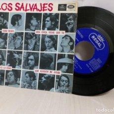 Discos de vinilo: LOS SALVAJES -TODO NEGRO--EP DE 4 CANCIONES - EMI 1966- BCN-. Lote 243782950