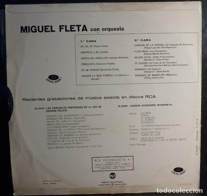 Discos de vinilo: MIGUEL FLETA // AY AY AY+OTRAS // 1961 // (VG VG). LP - Foto 2 - 243795850