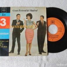 Discos de vinilo: LOS TRES SUDAMERICANOS -- MUCHO, POCO O NADA + 3 EP 1963. Lote 243799275
