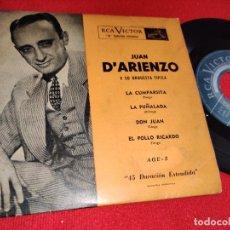 Discos de vinilo: JUAN D' ARIENZO LA CUMPARSITA/LA PUÑALADA +2 EP 7'' RCA VICTOR ARGENTINA TANGO. Lote 243807460