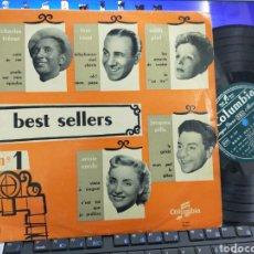 Discos de vinilo: BEST SELLERS NUM.1 LP PIAF,TRENET,ROSSI,PILLS,CORDY 10'' FRANCIA. Lote 243845675