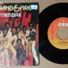 Disques de vinyle: EARTH, WIND AND FIRE / SEPTEMBER / SINGLE 7 PULGADAS. Lote 244007515
