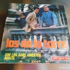 Discos de vinilo: DE LA TORRE, LOS,- FESTIVAL CANCION MEDITERRANEA -, SG, CON LOS OJOS ABIERTOS + 1, AÑO 1967. Lote 244013140