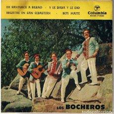 Discos de vinilo: LOS BOCHEROS. BILBAINADAS. DE SANTURCE A BILBAO. SINGLE 45 RPM. Lote 244470040