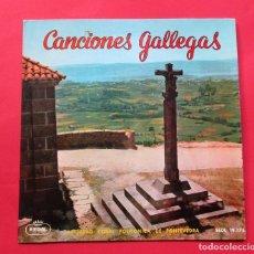 Discos de vinilo: DISCO SINGLE. ´CANCIONES GALLEGAS. SOCIEDAD CORAL POLIFÓNOCA DE PONTEVEDRA.. Lote 244485715