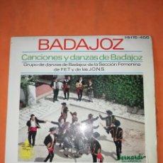 Discos de vinilo: CANCIONES Y DANZAS DE BADAJOZ. HISPAVOX 1963.. Lote 244496960