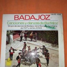 Discos de vinilo: CANCIONES Y DANZAS DE BADAJOZ. HISPAVOX 1963.. Lote 244498270