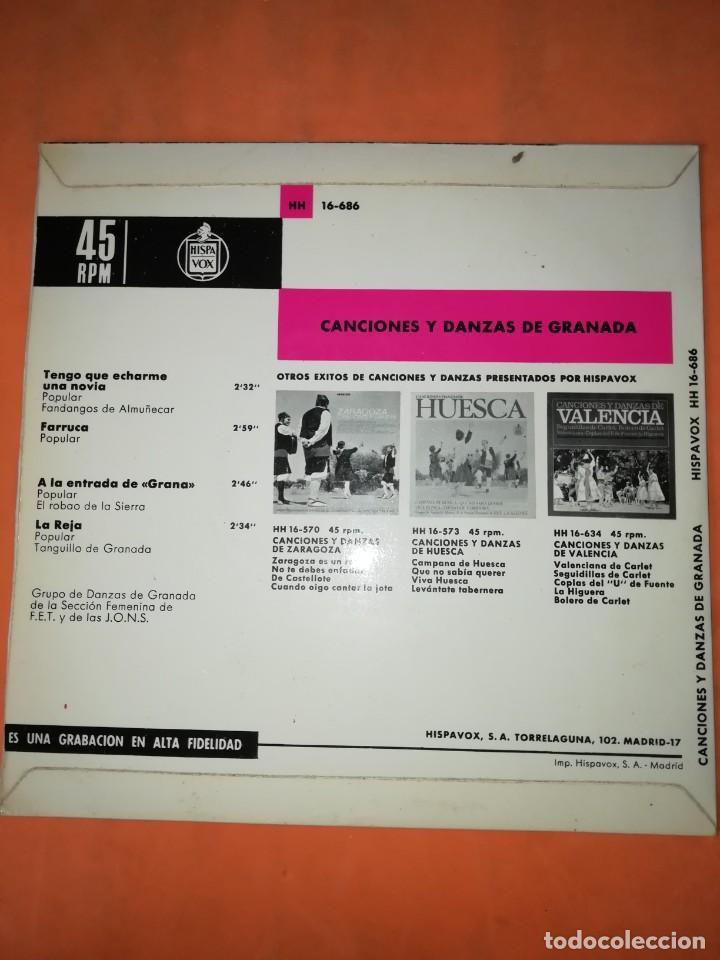 Discos de vinilo: CANCIONES Y DANZAS DE GRANADA. HISPAVOX 1968. - Foto 2 - 244501185