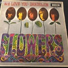 Discos de vinilo: SINGLE THE ROLLING STONES FLOWERS / WE LOVE YOU/ DANDELION EDITADO EN ESPAÑA DECCA. Lote 244504690