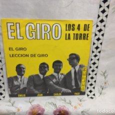 Discos de vinilo: LOS 4 DE LA TORRE - EL GIRO 7' VINYL SPAIN. 1965. VINILO: MINT / COVER: NM. Lote 244540710