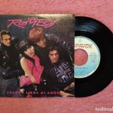 Discos de vinilo: SINGLE LOS ROMEOS - CUANDO LLEGA MI AMOR - HISPAVOX 006 8760277 - PROMO (EX+/EX+). Lote 244590540