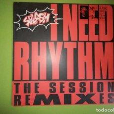 Discos de vinilo: DISCO SPLASH - I NEED RHYTHM. THE SESSION REMIXES. Lote 244633685