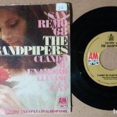 Discos de vinilo: THE SANDPIPERS / CUANDO ME ENAMORO / SINGLE 7 PULGADAS. Lote 244635250