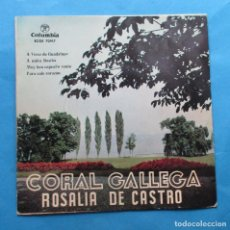 Discos de vinilo: DISCO SINGLE. CORAL GALLEGA ´ROSALIA DE CASTRO´. ´A VIRXE DE GUADALUPE´.. Lote 244650580