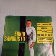 Discos de vinilo: ENNIO SANGIUSTO - LUNA CONTINENTAL/PEPINO/SINFONIA DEL MAR/ARRORRO MI NIÑO - EP ESPAÑOL DE 1961. Lote 244650815